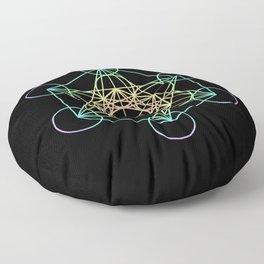 Metatron's Cube- Rainbow on Black Floor Pillow