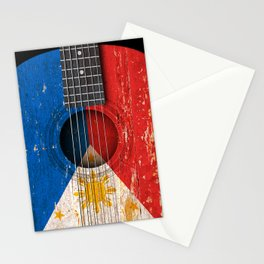 Old Vintage Acoustic Guitar with Filipino Flag Stationery Cards