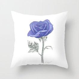 Rose 04 Botanical Flower * Silver Sterling Blue Rose: Love, Honor, Faith, Beauty, Devotion & Wisdom  Throw Pillow