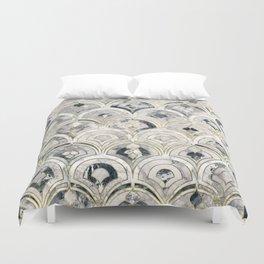 Monochrome Art Deco Marble Tiles Duvet Cover