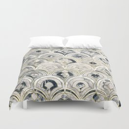 Monochrome Art Deco Marble Tiles Duvet Cover