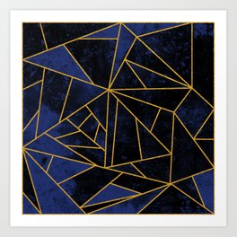 Blue and Gold Geometric House Colours Art Print