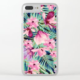 Tropical pink lavender aqua gold watercolor floral Clear iPhone Case