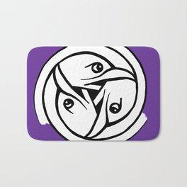 Celtic Art - Bird Head Triskele - on Purple Bath Mat