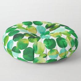 Green Watercolor Circles Pattern Floor Pillow