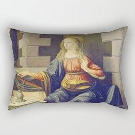 "Leonardo da Vinci ""Annunciation 2."" Rectangular Pillow"
