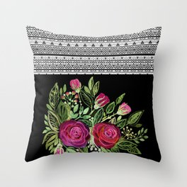 Rustic patchwork watercolor roses on black Throw Pillow