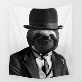Sloth with Bowl Hat Wall Tapestry