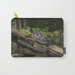 Painted Turtle sitting on a Log Carry-All Pouch