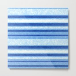 Sky Blue Grunge Stripes Metal Print