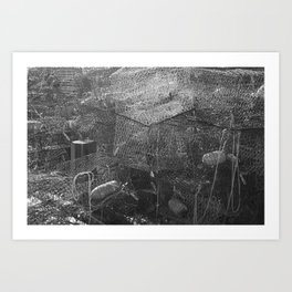 Crab Cages in Black and White Photography Art Print