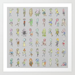 Zombie Characters Collection Art Print