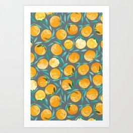 Winter Oranges | Gray Background Art Print