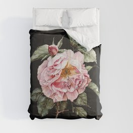 Wilting Pink Rose Watercolor on Charcoal Black Comforters