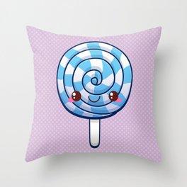 Kawaii Blue Lollipop Throw Pillow