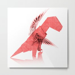 Origami Winged T-Rex Metal Print