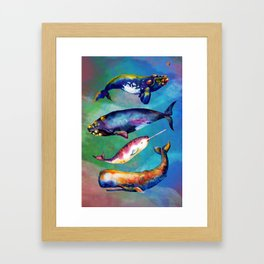 Whale Pyramid #3 - Watercolor Whales Framed Art Print