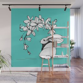 Happy Easter Bunny and Easter Flowers on Teal 1 Wall Mural