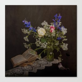 Still life with flowers, books and bird Canvas Print