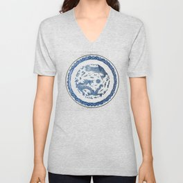 Damask vintage Monaco blue white girly ginger jar floral antique chinese dragon chinoiserie china Unisex V-Neck