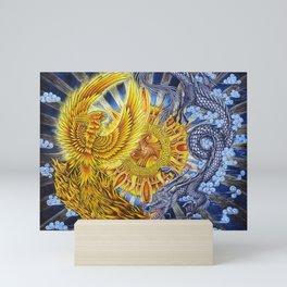 Chinese Phoenix and Dragon Mandala Mini Art Print