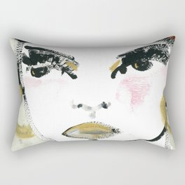 Woman portrait Art painting face beauty Rectangular Pillow