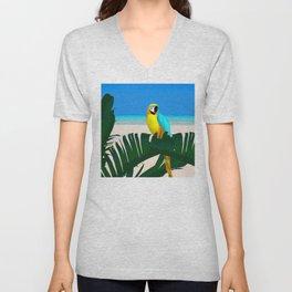 Parrot Tropical Banana Leaves Design Unisex V-Neck