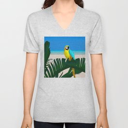 Parrot Tropical Banana Leaves Design Unisex V-Neck