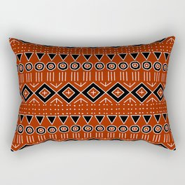 Mudcloth Style 2 in Red and Black Rectangular Pillow