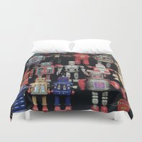 army Duvet Covers featuring Robot Army by derek banks