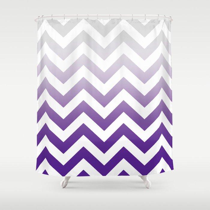 PURPLE FADE TO GREY CHEVRON Shower Curtain By Monikastrigel