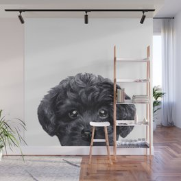 Black toy poodle Dog illustration original painting print Wall Mural