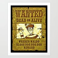 waldo Art Prints featuring Where's Waldo Wanted Poster by Silvio Ledbetter