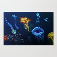 jelly fish Canvas Prints featuring Jelly-Jelly-Fish by Fknjedi1