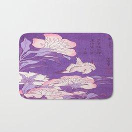 Japanese FLowers Purple Pink Bath Mat