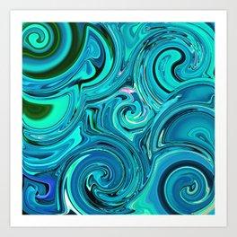 Aqua twists Art Print