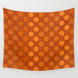 """Orange Burlap Texture & Polka Dots"" Wall Tapestry"
