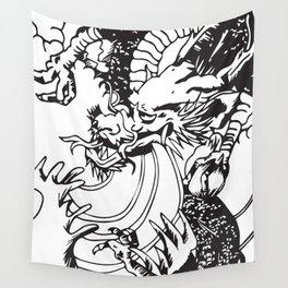 Oriental Dragon Line Art Wall Tapestry