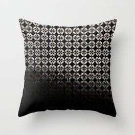 Textured warm silver and black Shippo ombre - traditional Japanese pattern Throw Pillow