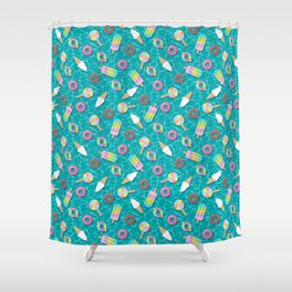 Sweet Treats Pool Floats Pattern – Turquoise Shower Curtain