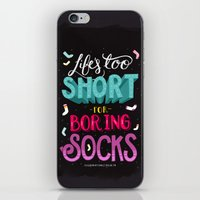 socks iPhone & iPod Skins featuring Boring Socks by Illustration by Julia