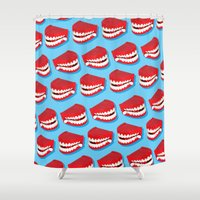 teeth Shower Curtains featuring Chattering teeth by very giorgious