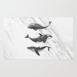 Ocean Whales Marble Black and White Rug
