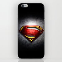 man of steel iPhone & iPod Skins featuring Man of Steel by bimorecreative