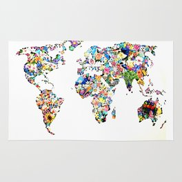 World map full of flowers and birds Rug