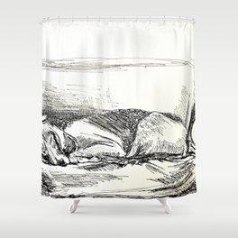 Elwood sleeping Shower Curtain