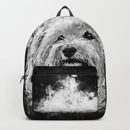 hairy havanese dog splatter watercolor black white Backpack