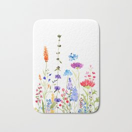 colorful wild flowers watercolor painting Bath Mat