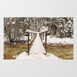 Pericnik Falls Snowy Bridge Rug