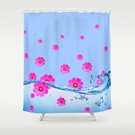 FUCHSIA PUPPLE COSMOS FLORAL PATTERN & WATER ART Shower Curtain
